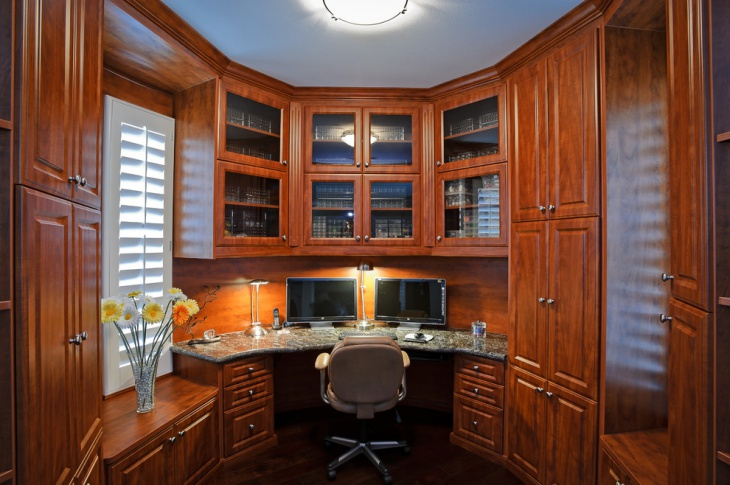 small home office with wooden furniture