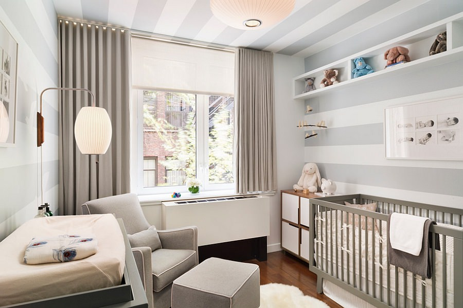 floating shelves wall design for nursery