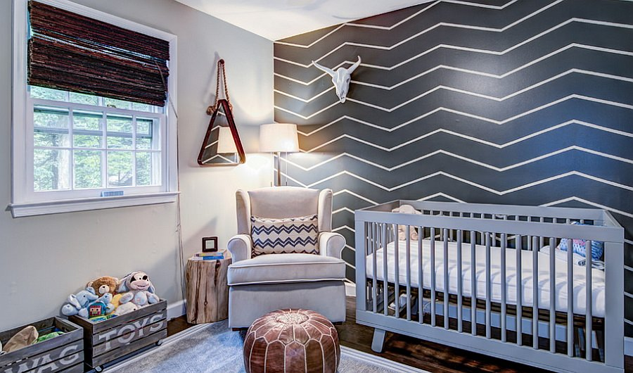 gray color wall design for nursery