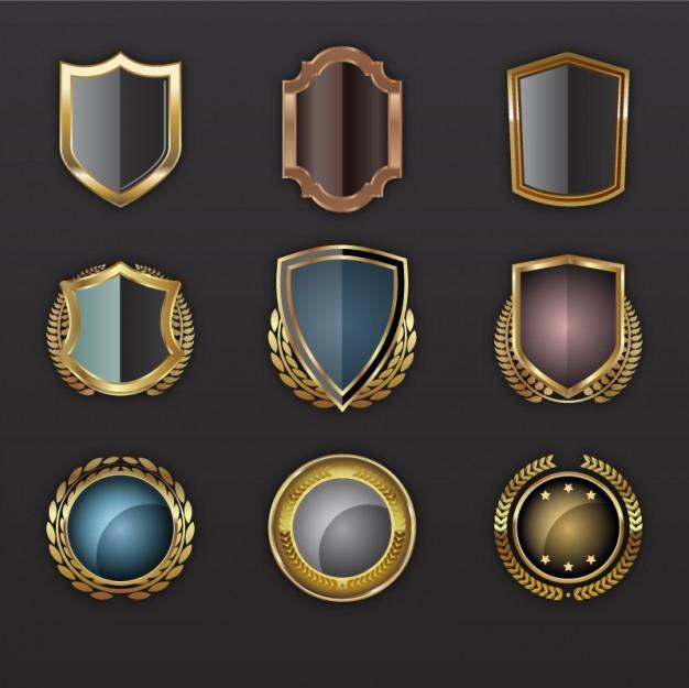 Golden Shields Vector