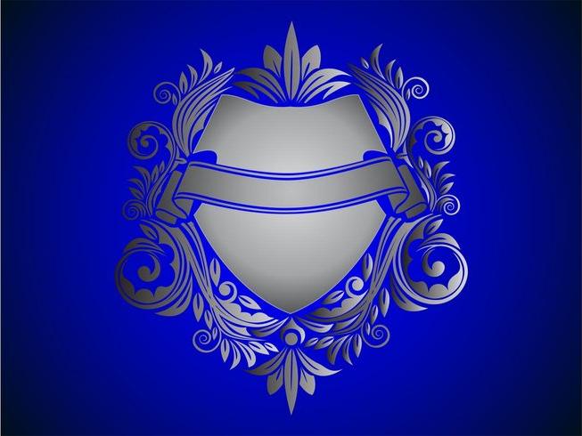 floral shield vector