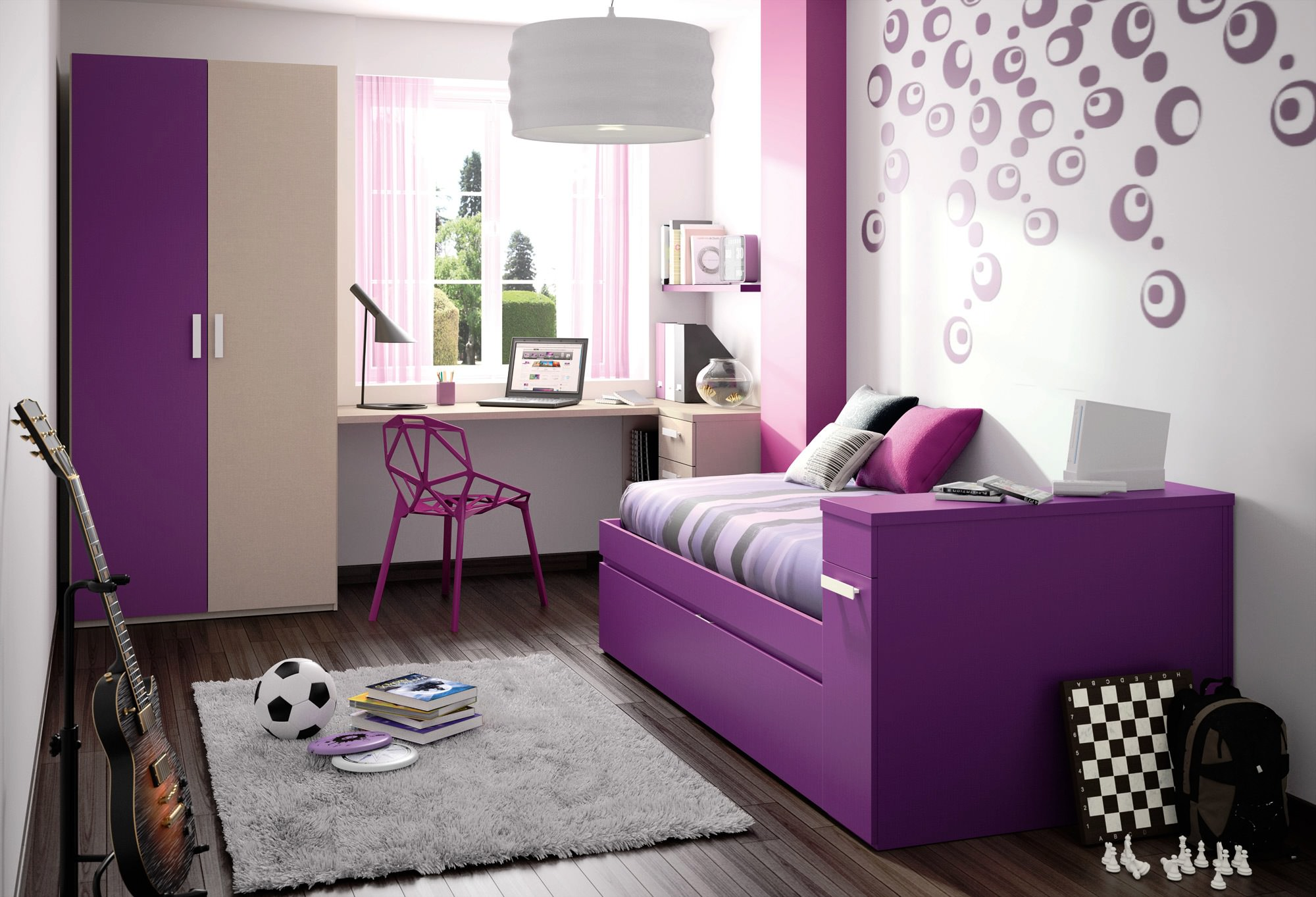 small wall design for teenage bedroom - Simple Shapes Wall Design