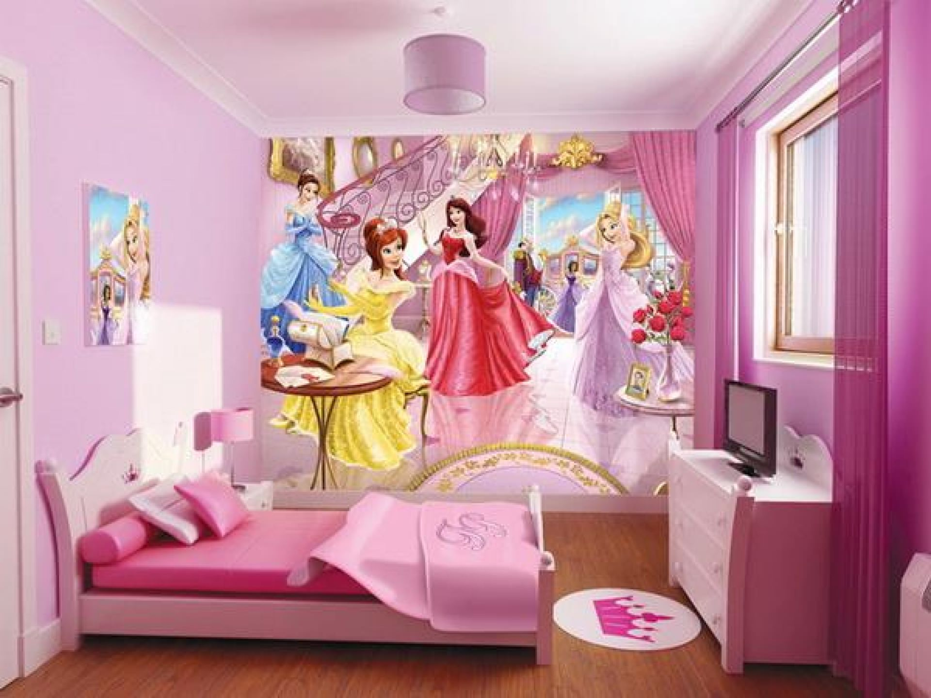 Pink Wall Design For Teenage Bedroom