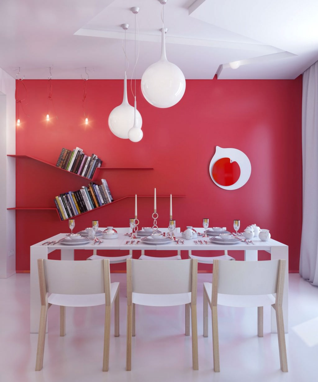 10 red dining room designs decorating ideas design for Modern dining area ideas