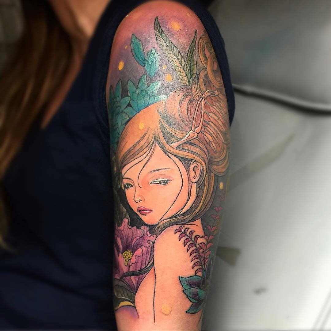 pretty girl sleeve tattoo design