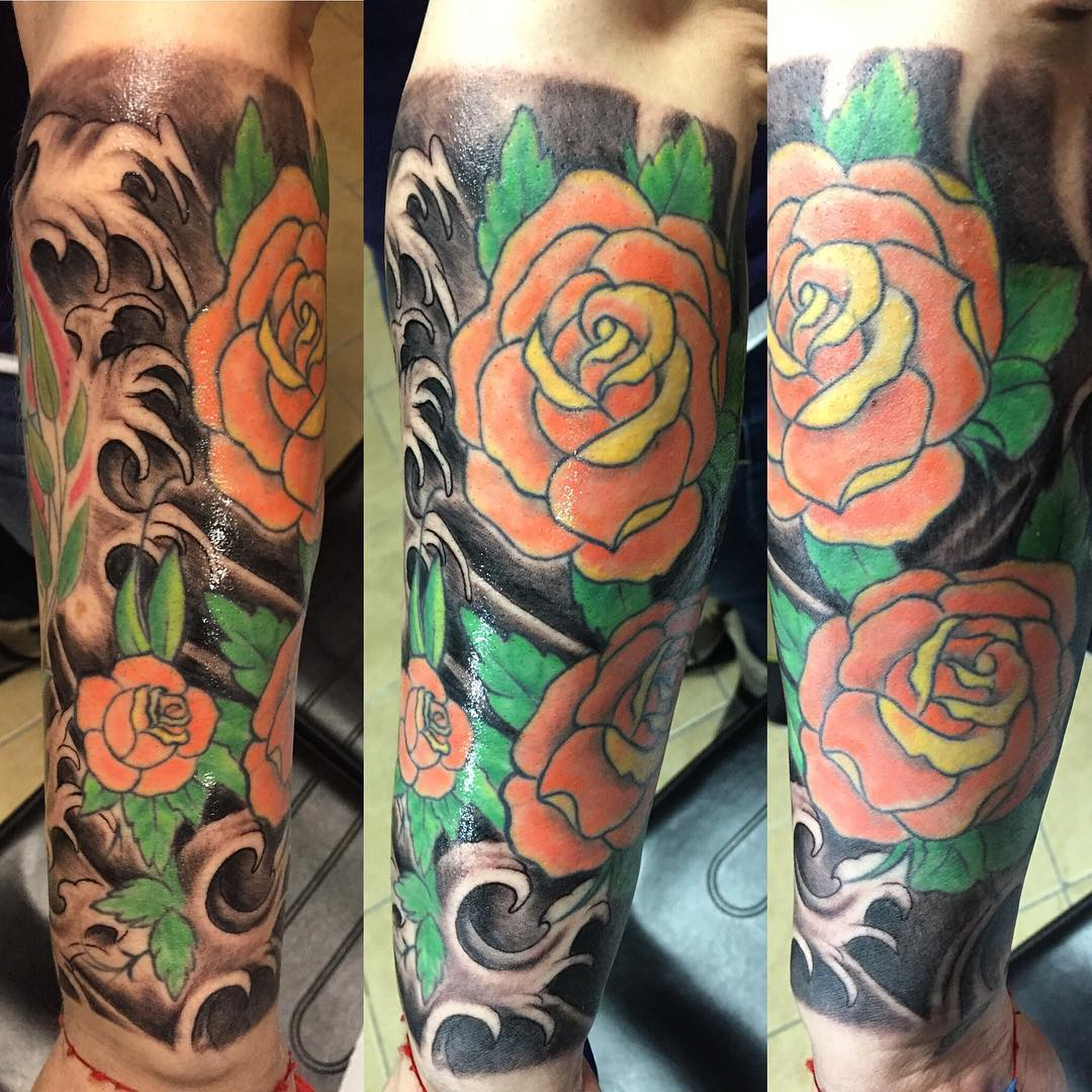 rose sleeve tattoo design1