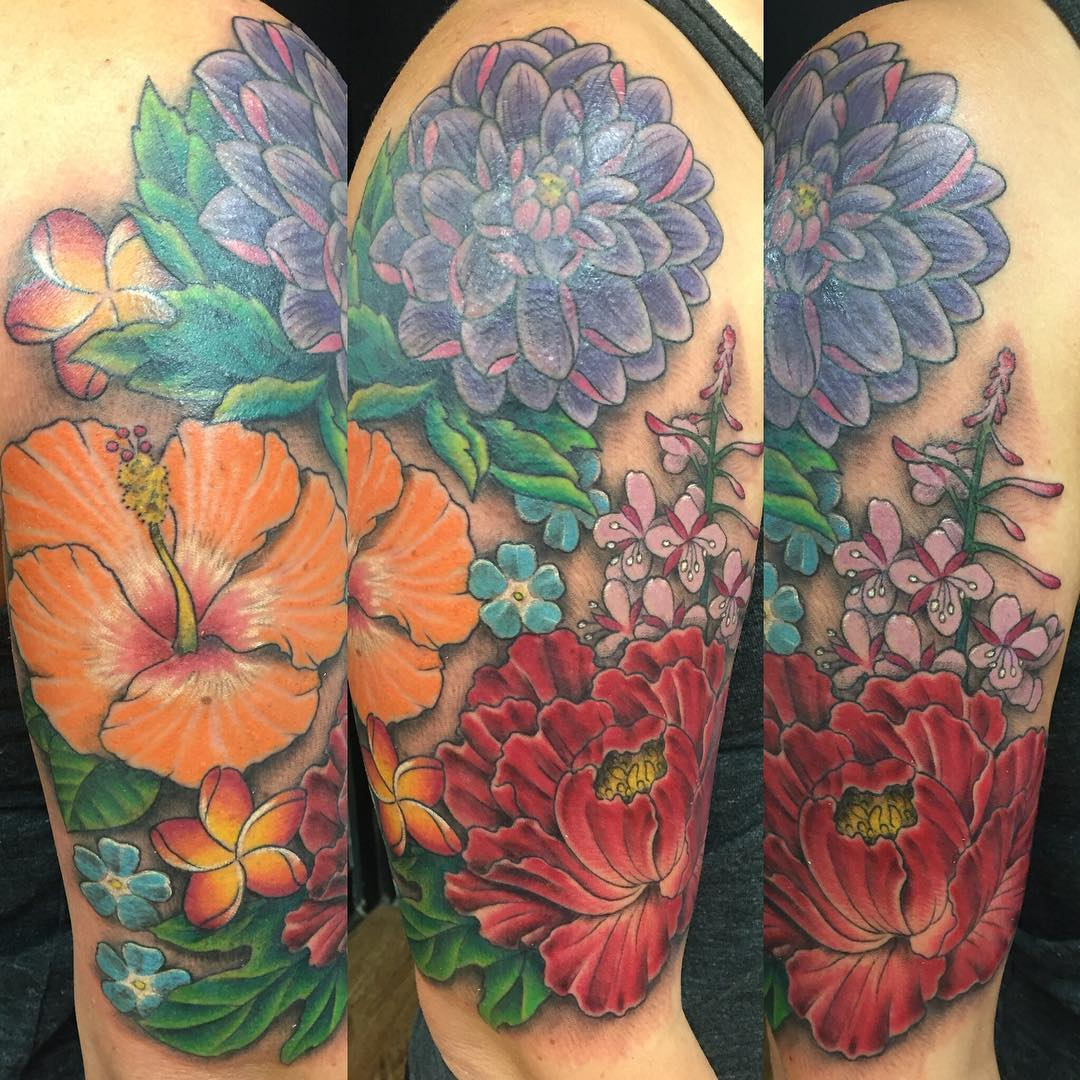 tropical flower half sleeve tattoo