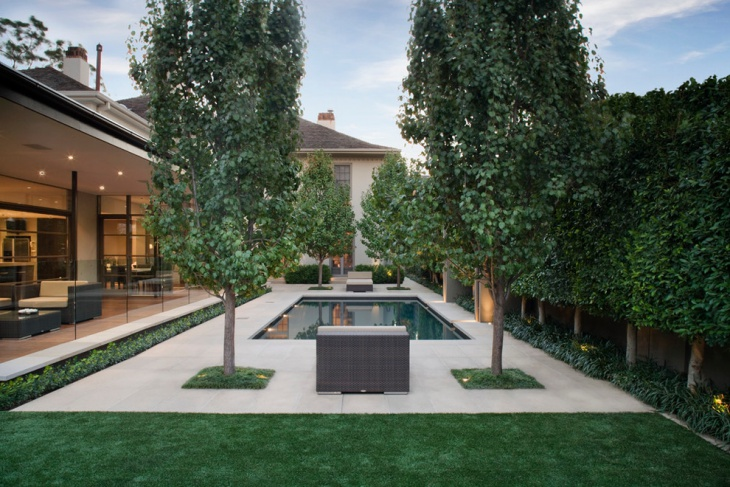 modern formal pool with garden