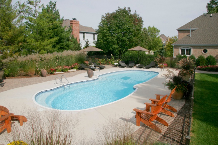 landscaped inground fiber glass pool