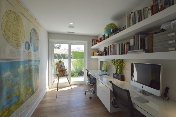 Home Office With Custom Built In Book Shelves