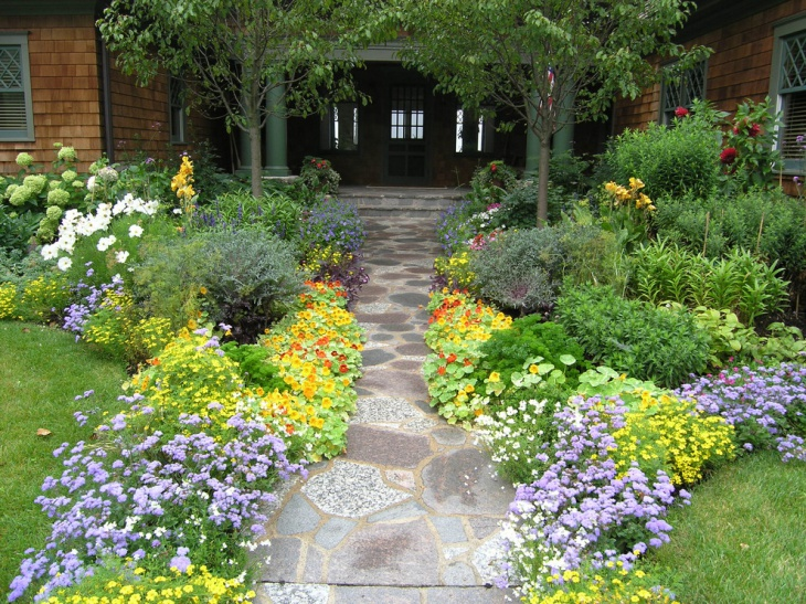 Front Yard Garden With Stamped Concrete Walkway