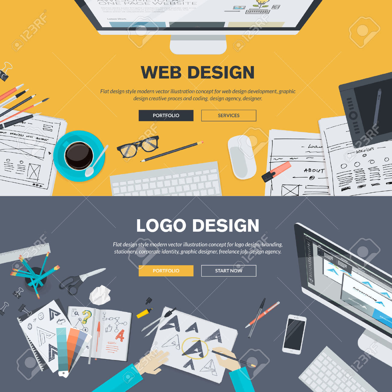 36892858 flat design illustration concepts for web design development design graphic design design agency con stock vector
