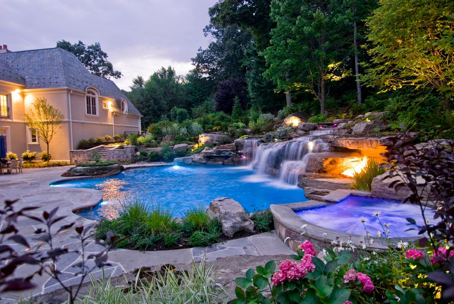 7 waterfall augmenting the aesthetics - Outdoor Swimming Pool Designs