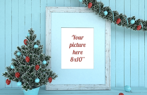 decorative christmas frame mockup