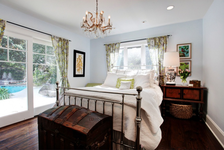 Transitional Bedroom With Unique Metal Bed