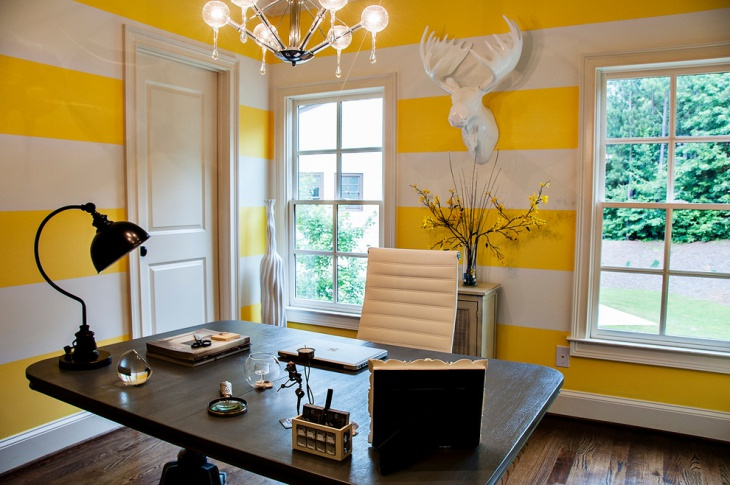 executive office with yellow and white walls