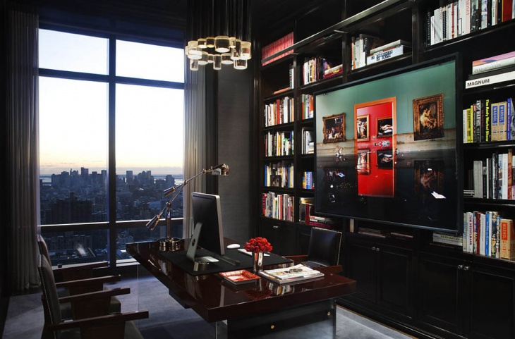 contemporary office design with black cabinets