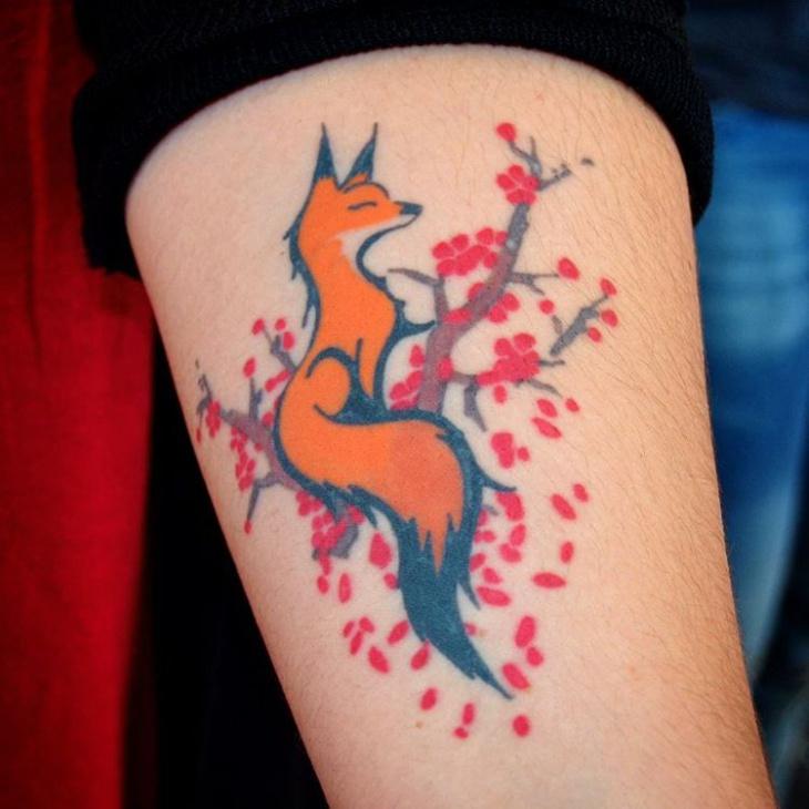 Colored Fox Tattoo Design for Forearm