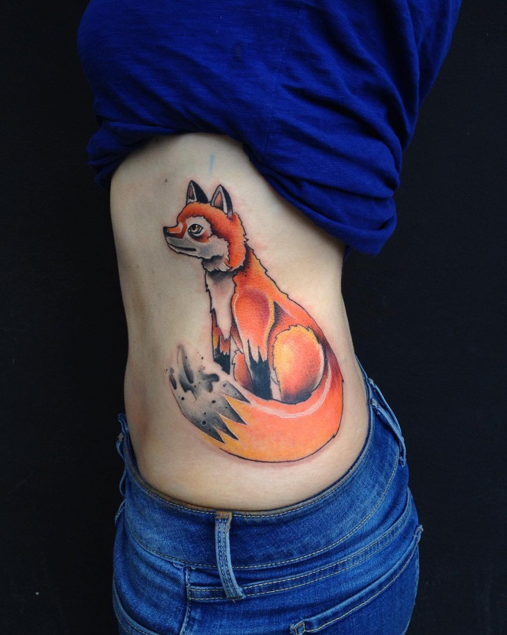 Fox Tattoo Design for Hip