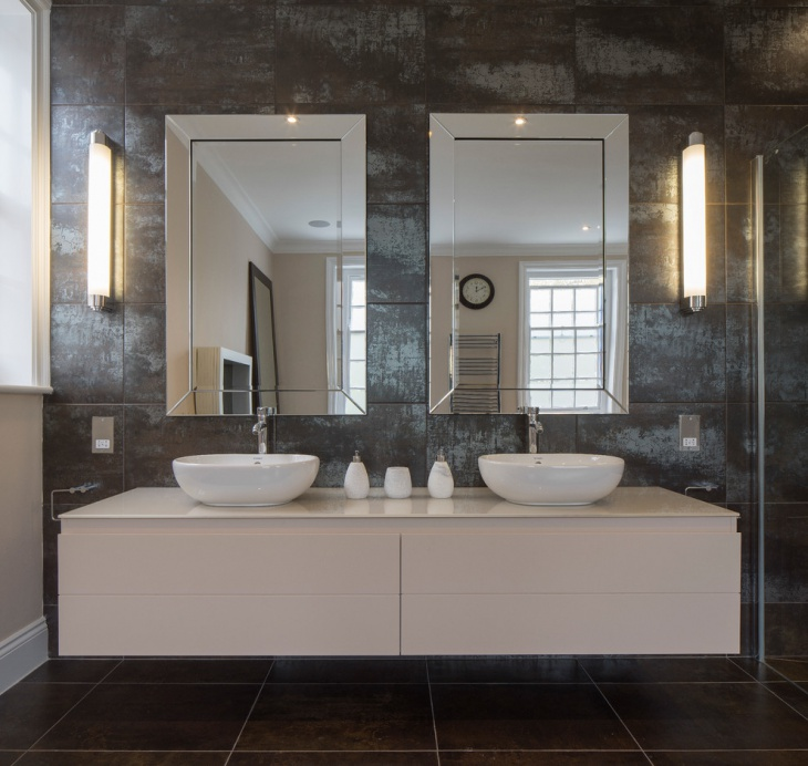 Contemporary Bathroom With Double Mirror Design