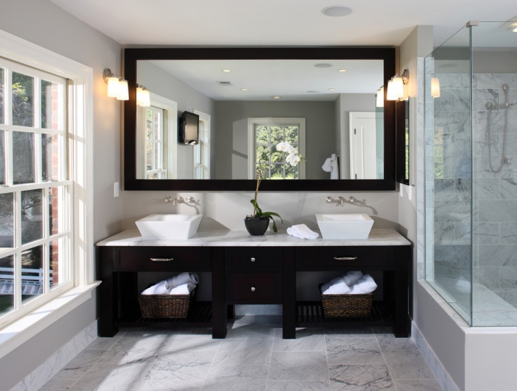 framed bathroom design idea - Bathroom Mirrors Design