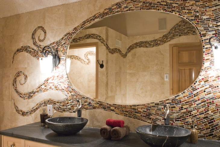 Mirror With Mosaic Tiles Design
