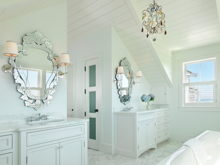 Beach Style Bathroom With Venetian Mirror.