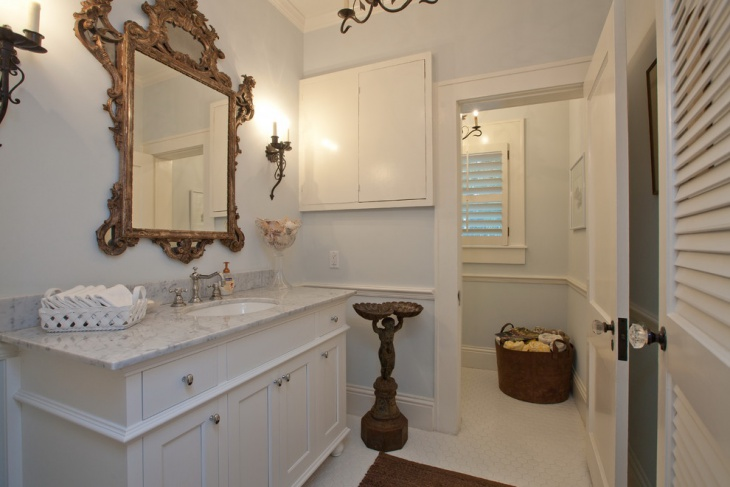 Over Sink Mirror For Mediterranean Bathroom