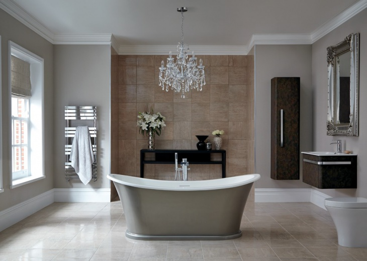 chandelier design for gray bathroom