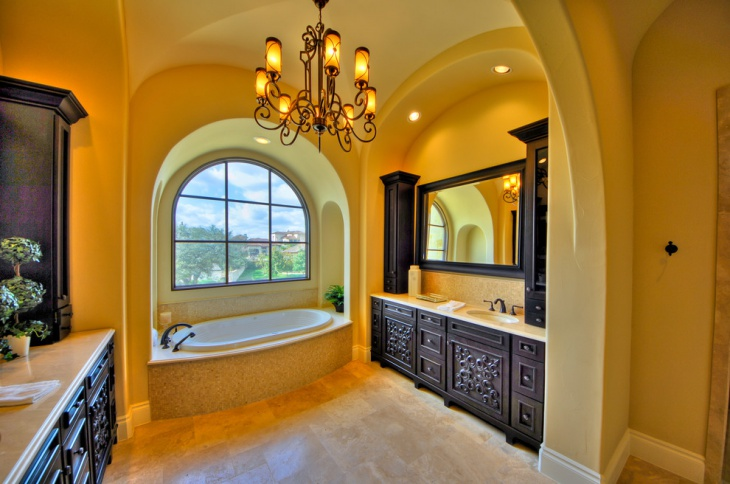 classic yellow bathroom chandelier