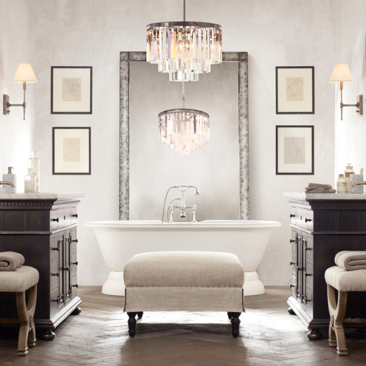 antique bathroom chandelier idea