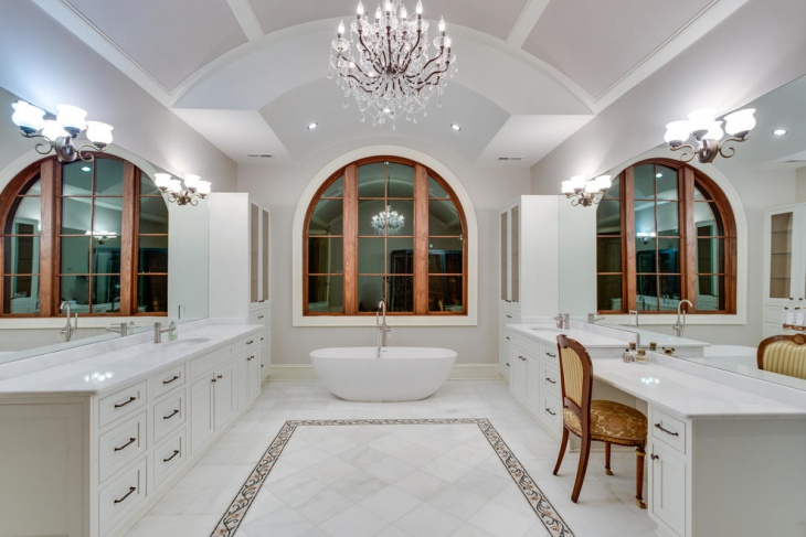 sparkling chandelier for mediterranean bathroom