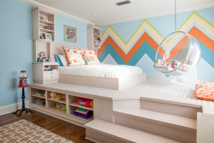 Kids Platform Bed With Storage Idea