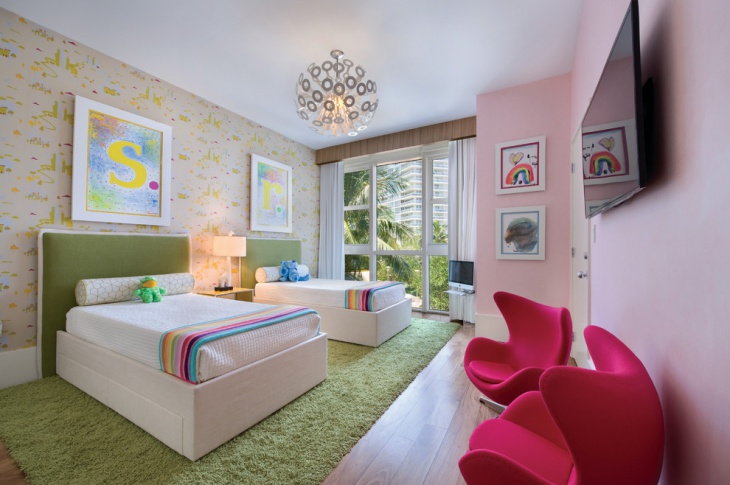 classic kids room interior with chandelier