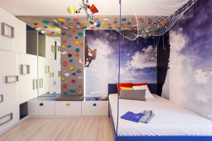 climbing wall design for kids room