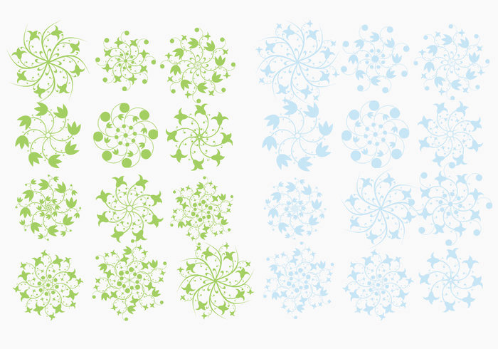 floral snowflake brush pack