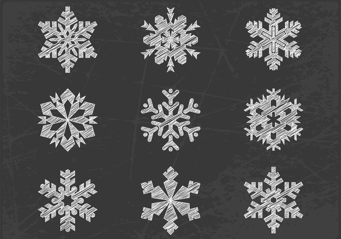 chalk drawn snowflake brushes