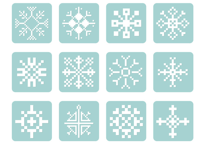 pixel snowflake brushes