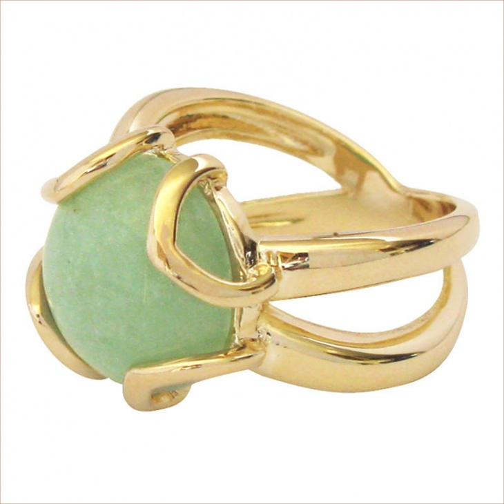 Green Petal Gold Ring Design