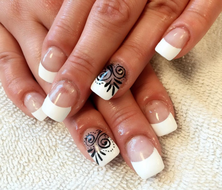White Tip With Lace Nail Art - 20+ White Tip Nail Art Designs, Ideas Design Trends - Premium PSD