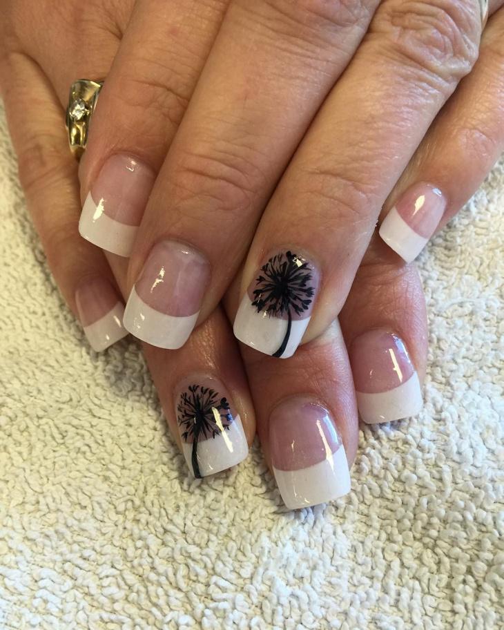 black and white nail polish art idea