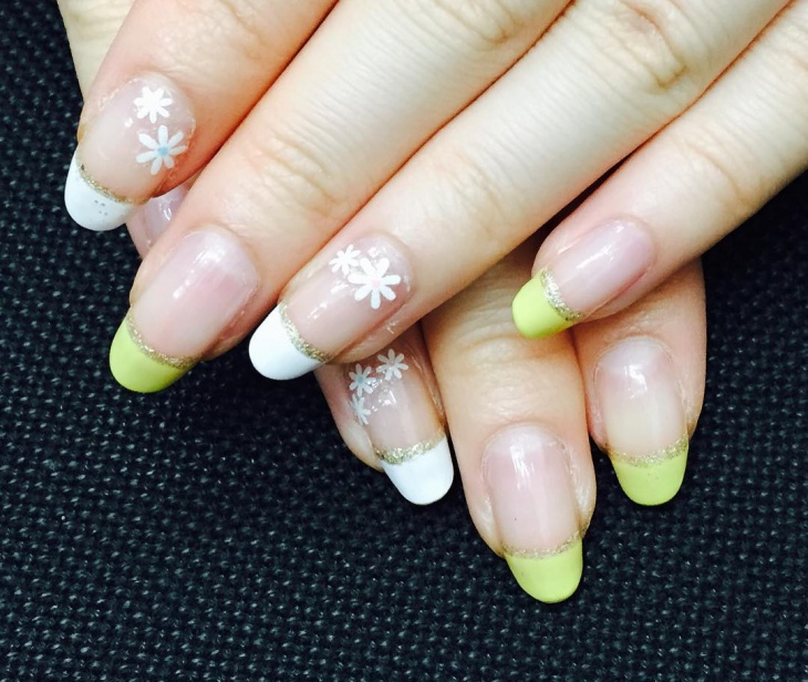 White and Yellow French Nail Art