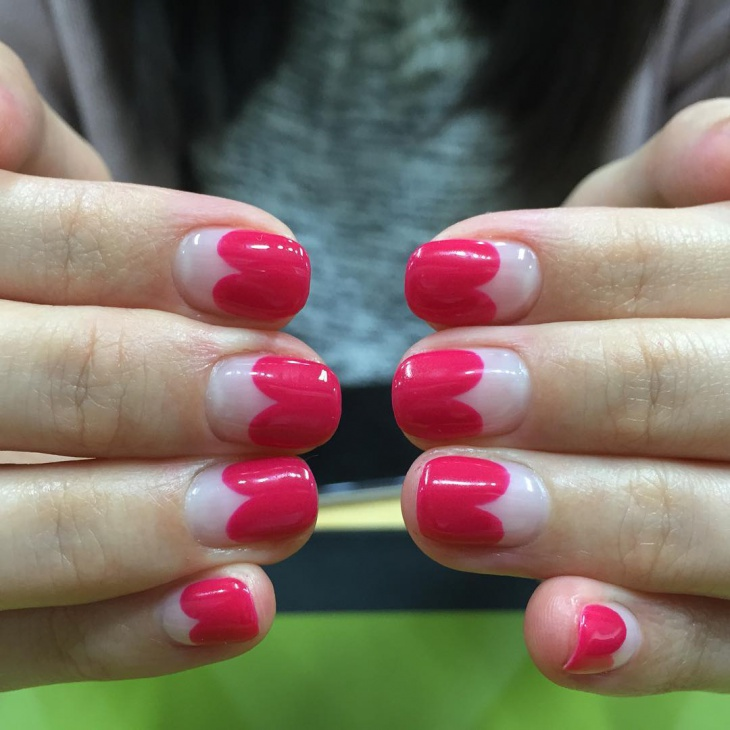pink french nail design