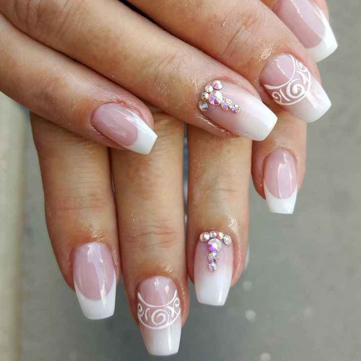 Crystal Decorated French Nails