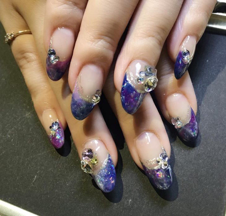 Purple French Glitter Nail Art Design