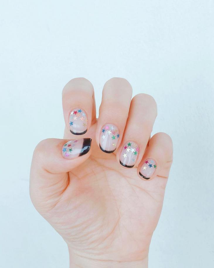 multi color star nail design