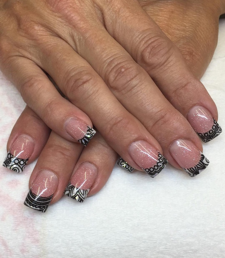 stamped french lace nail design