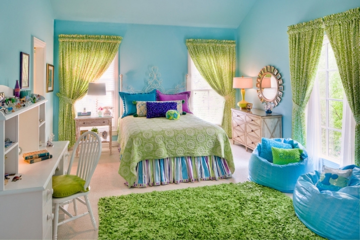 Green and Blue Girls Bedroom Interior