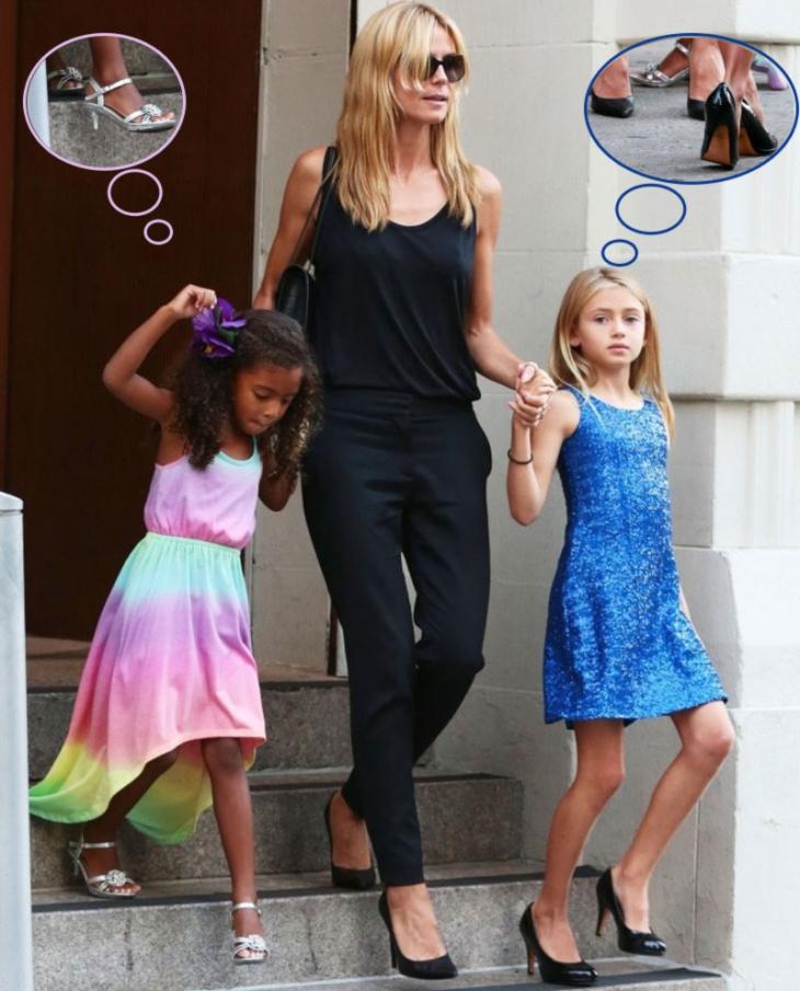 heidi klum daughters wear high heels
