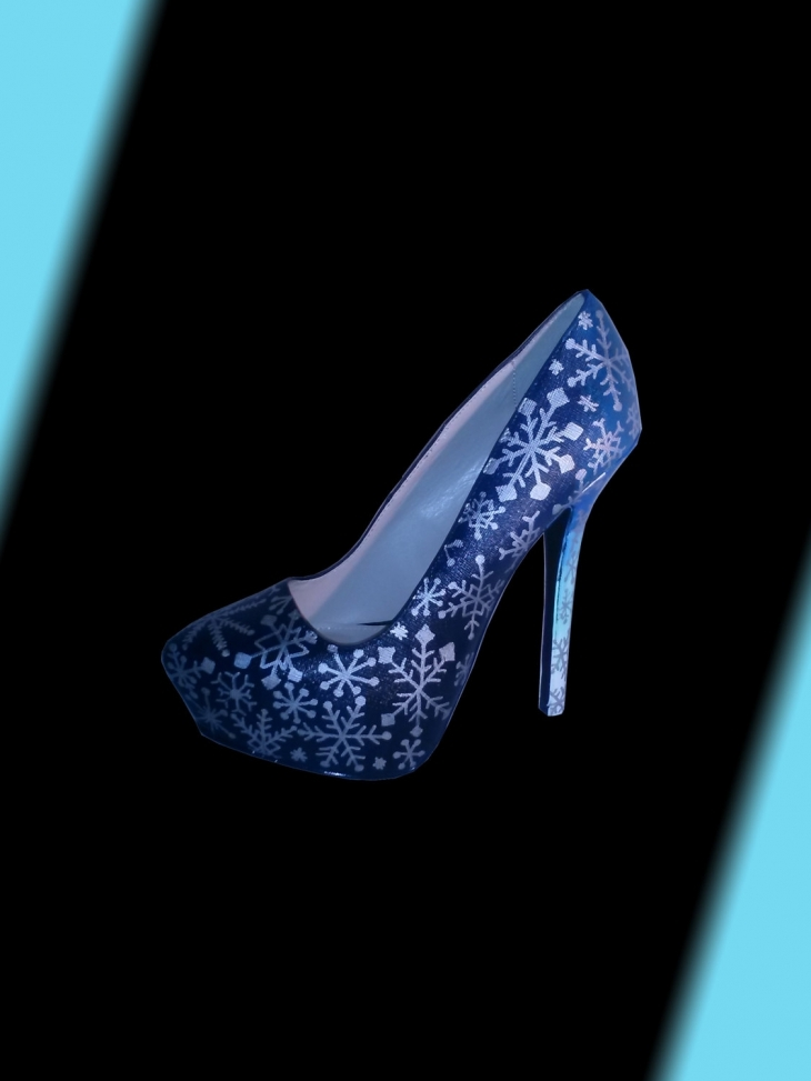 Blue Snowflake Paint Heels